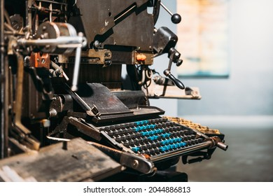 Typesetting Linotype Machine Produced In 1974. Detail. Paper Mill Museum. Famous Landmark, Historical Heritage.