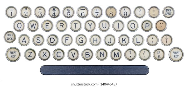 Typewriter buttons isolated