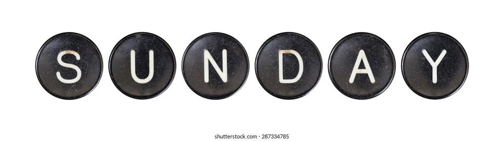 Typewriter buttons, isolated on white background - Sunday