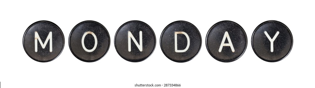Typewriter buttons, isolated on white background - Monday