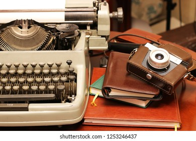 typewriter and camera retro