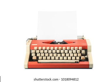 Typewriter isolated on white background