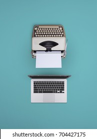 typewriter and laptop