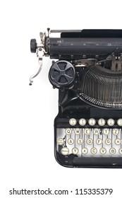 typewriter on white typing type writing write