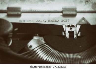 Typewriter with the phrase, Happy 2018 and goodbye to 2017