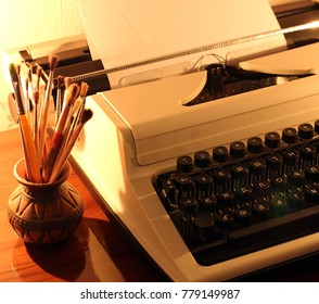 Typewriter. romance. Brushes for drawing. Art. Candle. Card