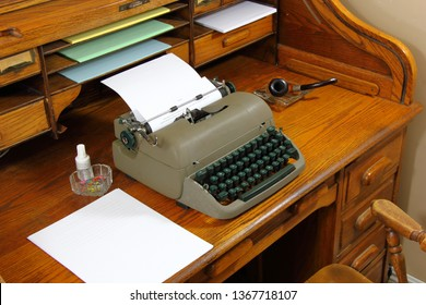 Typewriter sitting on a Roll Top Desk