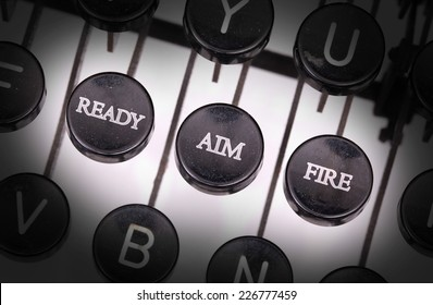 Typewriter with special buttons, ready aim fire