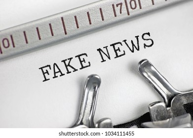 Typewriter typing text fake news, detailed macro closeup, psychological operations newsletter bulletin, information mass media journalist metaphor, behavior, PSYOP info journalism concept, horizontal