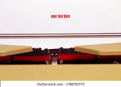 typewriter and your text hera message. adv and information concept