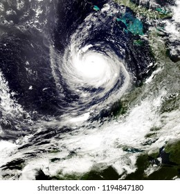 Typhoon in America. Satellite view. Elements of this image furnished by NASA