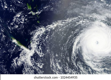 Typhoon Gita heading towards Tonga in February 2018 - Modified elements of this image furnished by NASA