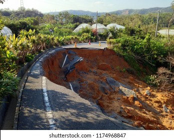 Typhoon induced landslide.