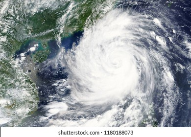 Typhoon Mangkhut hits the Phillippines in September 2018 - Elements of this image furnished by NASA