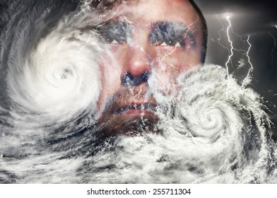 Typhoon, storm and a human face
