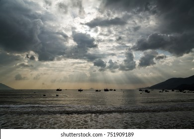 typhoon, tornado season, sailboat damaged by Hurricane Damrey in bay Nha Trang, Vietnam