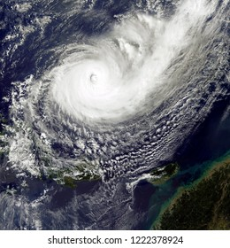 Typhoon Yutu Hits the Philippines. Typhoon Yutu made landfall on the northern Philippine island of Luzon. Elements of this image furnished by NASA.