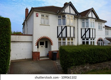 Typical 1930s white semi detatched house with Bay Window, in Bristol, England