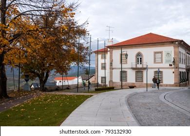 Typical administrative buildings in Belmonte (Beautiful mountain), Castelo Branco Region, Portugal