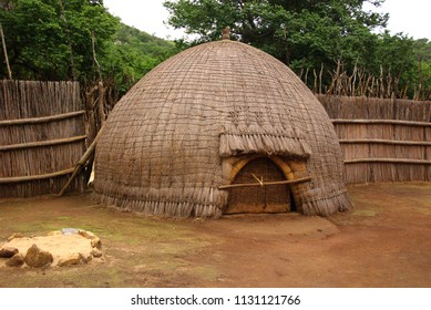 Typical African thatched cottages in Manzini. Swazi, Swaziland