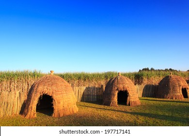 Typical African thatched traditional houses in Swaziland