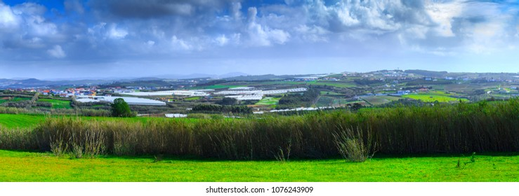 A typical agricultural landscape of springtime somewhere in Oeste near Maceira, Vimeiro, municipality Lourinha in Portugal.