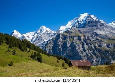 A typical alpine chalet along the Eiger trail. Eiger, Monch and Jungfrau mountains are in the background.