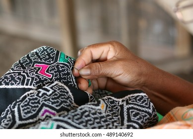 Typical Amazon embroidery, 'Ayahuasca' design by 'Shipibo' people