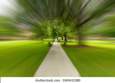 Typical American college campus walkway with motion blur.