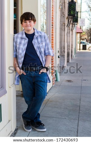 8ce9d2498 Typical American Teenager Posing Camera Outdoors Stock Photo (Edit ...