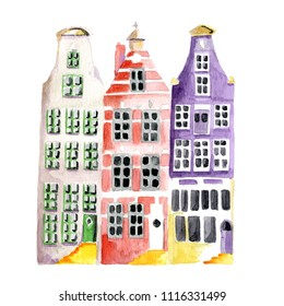 Typical Amsterdam houses in water color isolated over white background