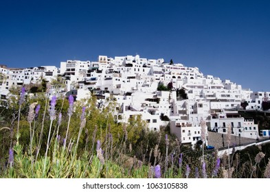 typical andalusian white village on mountain in Spain