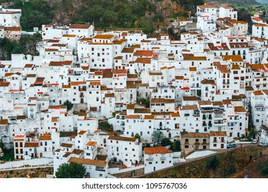 Typical andalusian white village pueblo blanco Casares, Andalusia, Spain