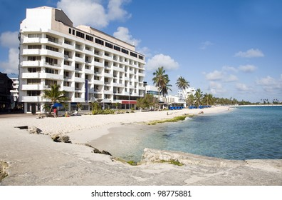 typical architecture high rise beach palm trees San Andres Island Colombia South America