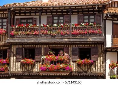 Typical architecture in main square of La Alberca. Salamanca, Castile and Leon, Spain