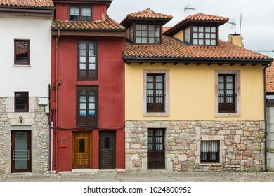 Typical architecture in the old town of Llanes. Asturias. Spain.