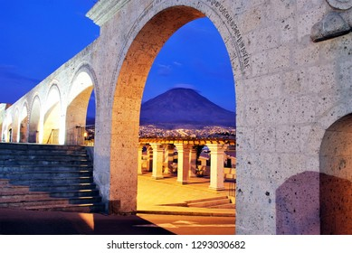 Typical architecture and volcano in the background i Arequipa, Peru.