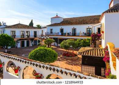 Typical architecture of white Andalusian style village near Marbella, Spain