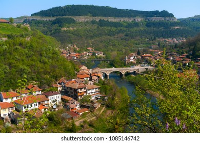 Typical architecture,historical medieval houses,Old city street view with colorful buildings in Veliko Tarnovo, Bulgaria