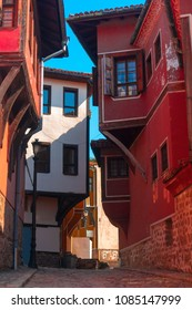 Typical architecture,historical medieval houses,Old city street view with colorful buildings in Plovdiv, Bulgaria.