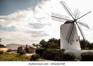 Typical balearic windmill in Sant Antoni de Portmany, Ibiza Island, Balearic islands.