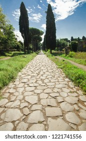 The typical basalt block paving of the Via Appia Antica, called regina viarum by the ancient Romans.