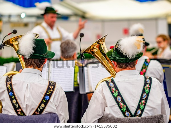 typical bavarian musician in a festival tent