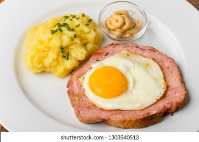 a typical bavarian snack the leberkaese with potato salad