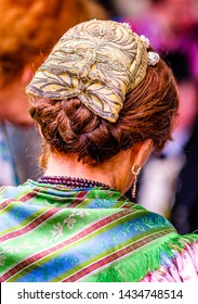 typical bavarian traditonal clothes and hair style