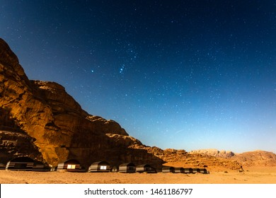 Typical bedouin tents camp at Wadi Rum, Jordan during star night