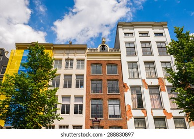 Typical bend houses in AMsterdam, Netherlands