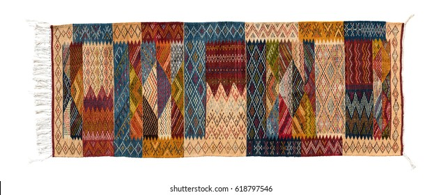 Typical berber carpet isolated on white background, Morocco