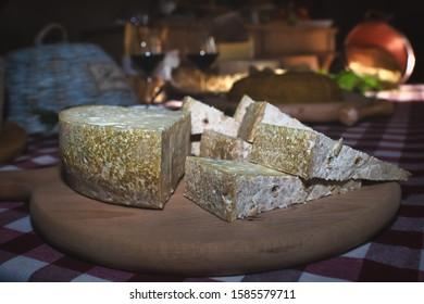 "Typical Bergamo cheese from the Taleggio valley ""Strachitunt"""