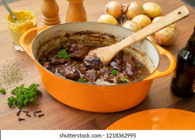 Typical Blegian beef stew flemish carbonnades